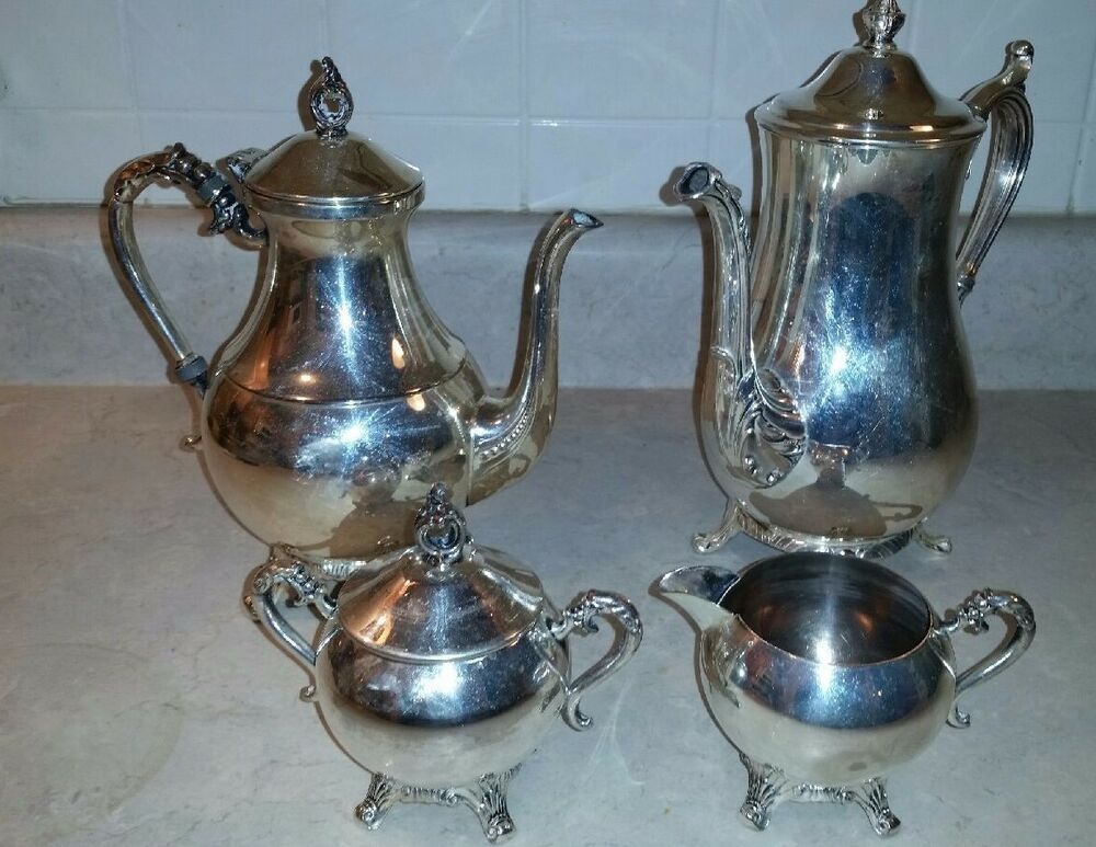 Vintage Wm Rogers 801 Silver Plate Coffee Tea Set Ebay