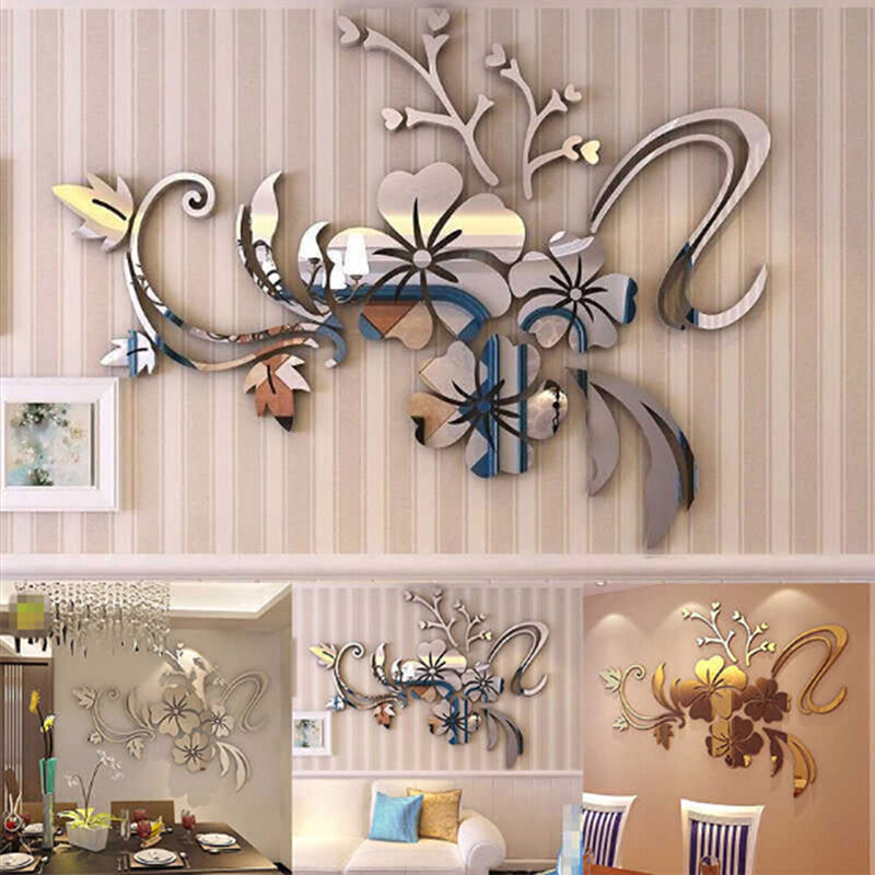 3d mirror flower art removable wall sticker acrylic mural decal home