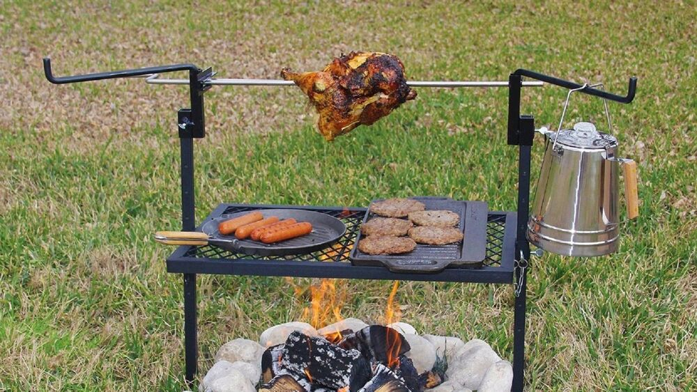 Outdoor campfire cooking grill rotisserie camping for Culinary kitchen equipment