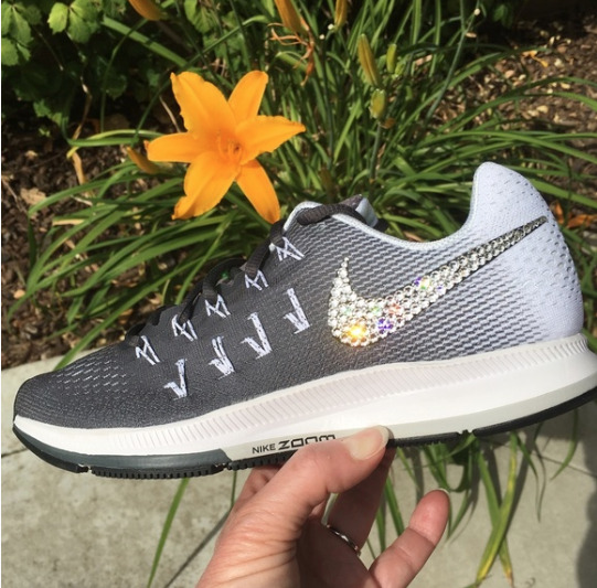 cd58e81b6c5b3 Bling Nike Air Zoom Pegasus 33 Shoes w  Swarovski Crystal   Dark Grey White