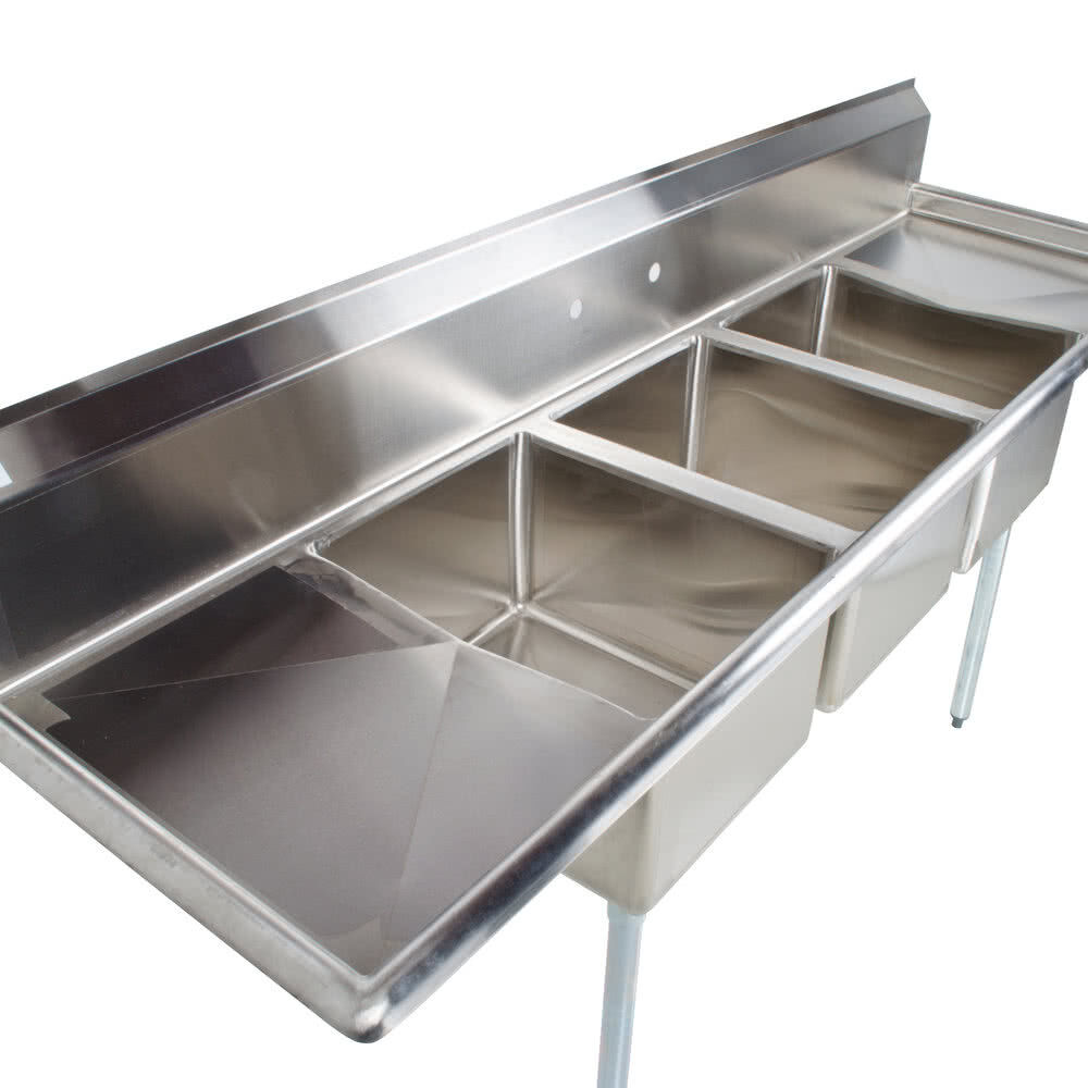 """88"""" Stainless Steel 3 Compartment Commercial Dishwash Sink"""