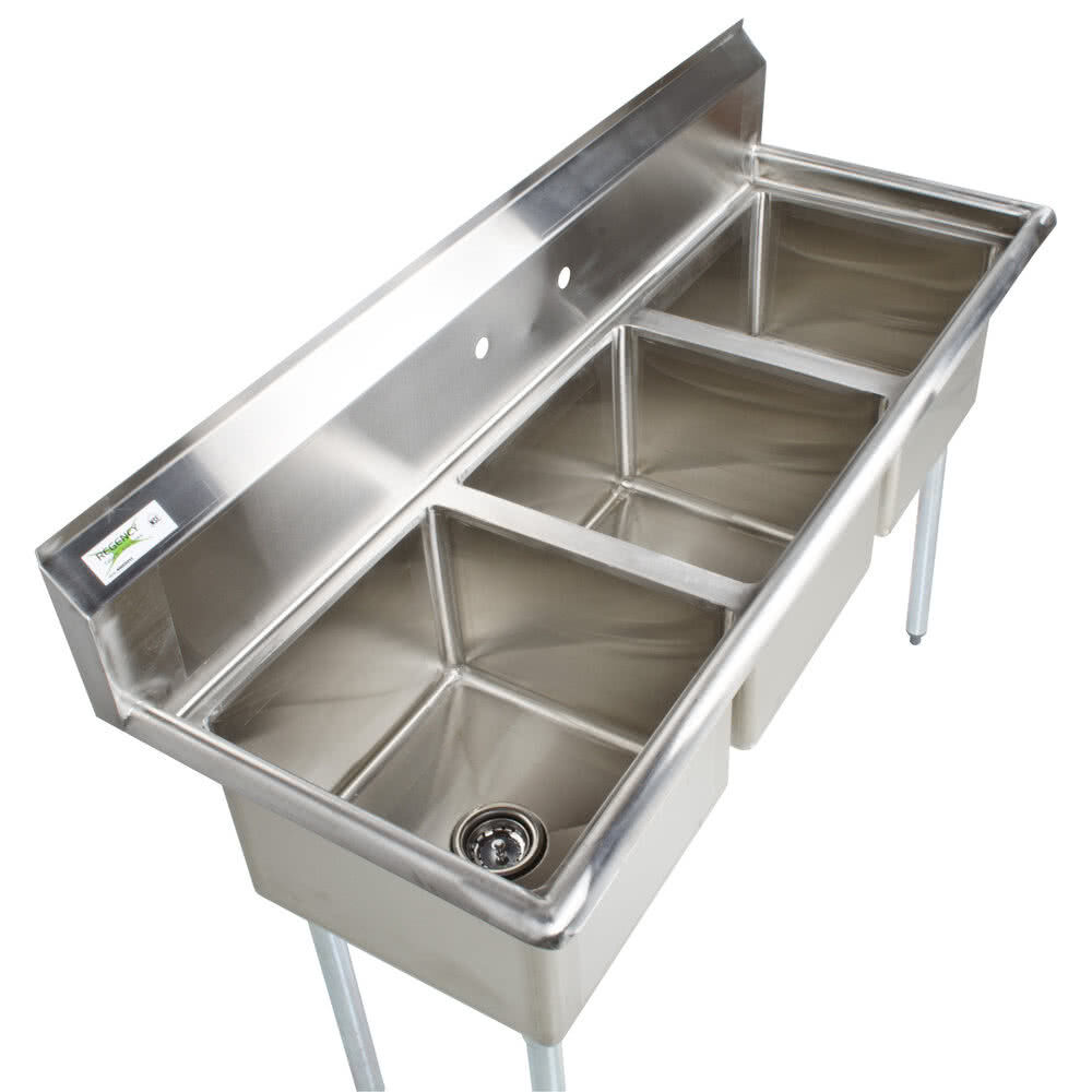 60 stainless steel 3 compartment commercial sink restaurant three no drainboard ebay. Black Bedroom Furniture Sets. Home Design Ideas
