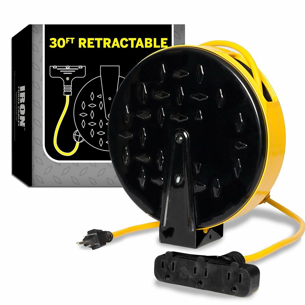 retractable extension cord 30 ft retractable extension cord reel with 3 electrical 13023