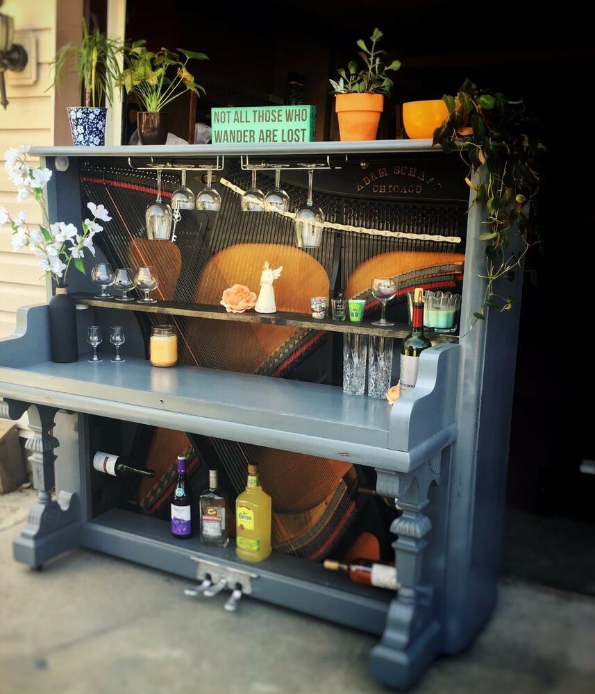 Furniture Stores That Sell Bars: Wine Bar Repurposed From Antique Upright Piano, Custom