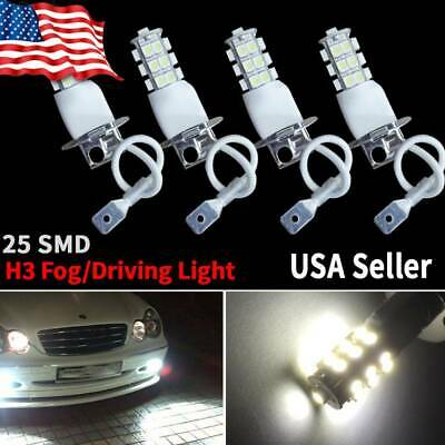 4x H3 6000K White 2835 LED Bulbs Car Fog Driving DRL Light Lamps 12V