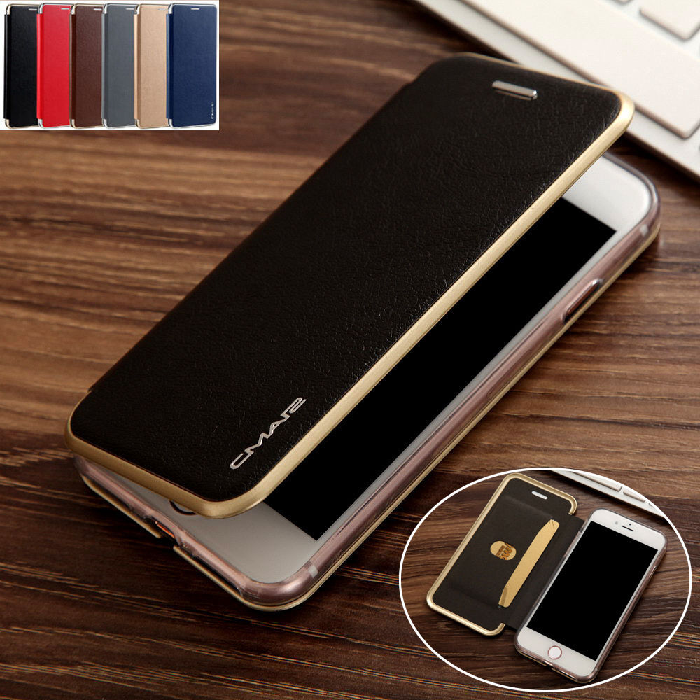 luxury leather wallet card slim case magnetic flip cover for iphone 6 6s 7 plus ebay. Black Bedroom Furniture Sets. Home Design Ideas
