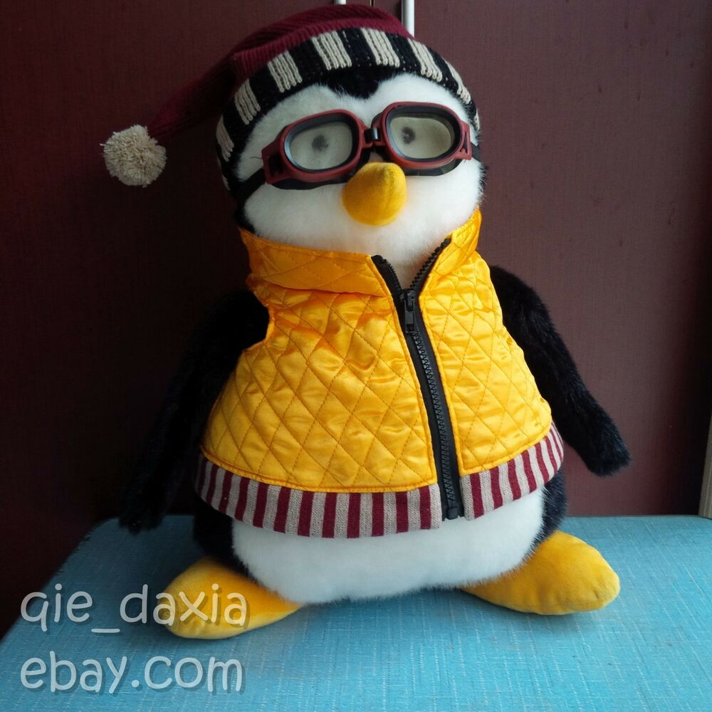 """RARE 18"""" HARD TO FIND HUGGSY PENGUIN WITH GOGGLES FRIENDS"""