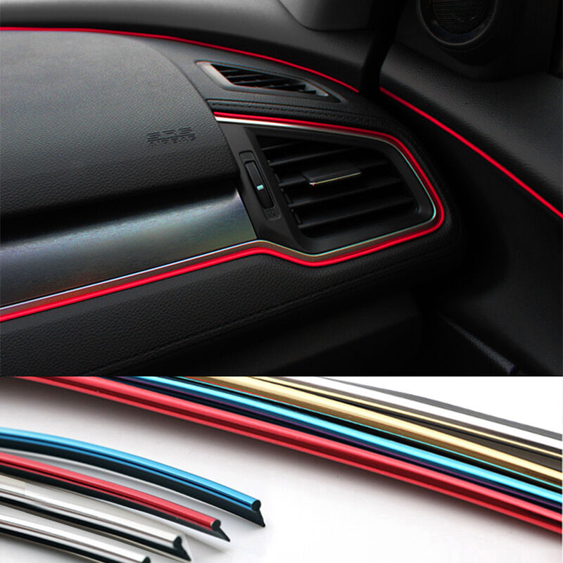 5m car chrome diy interior mount strip styling door center console trim moulding ebay. Black Bedroom Furniture Sets. Home Design Ideas