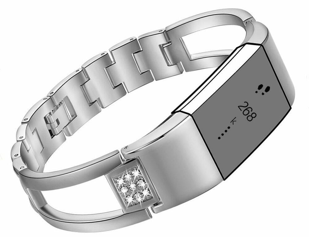 fitbit charge 2 bracelet band bangle silver stainless steel wristband ebay. Black Bedroom Furniture Sets. Home Design Ideas