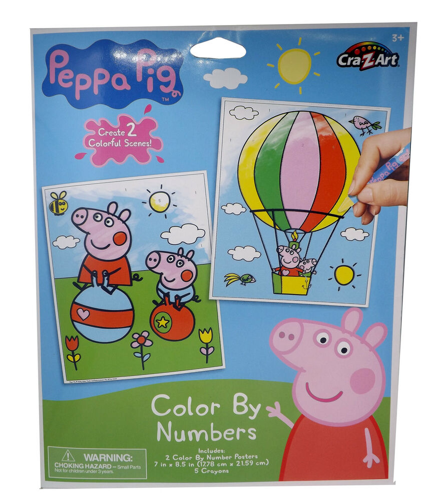Peppa Pig Colour By Numbers Colouring Posters Crayons Kids Calm ...