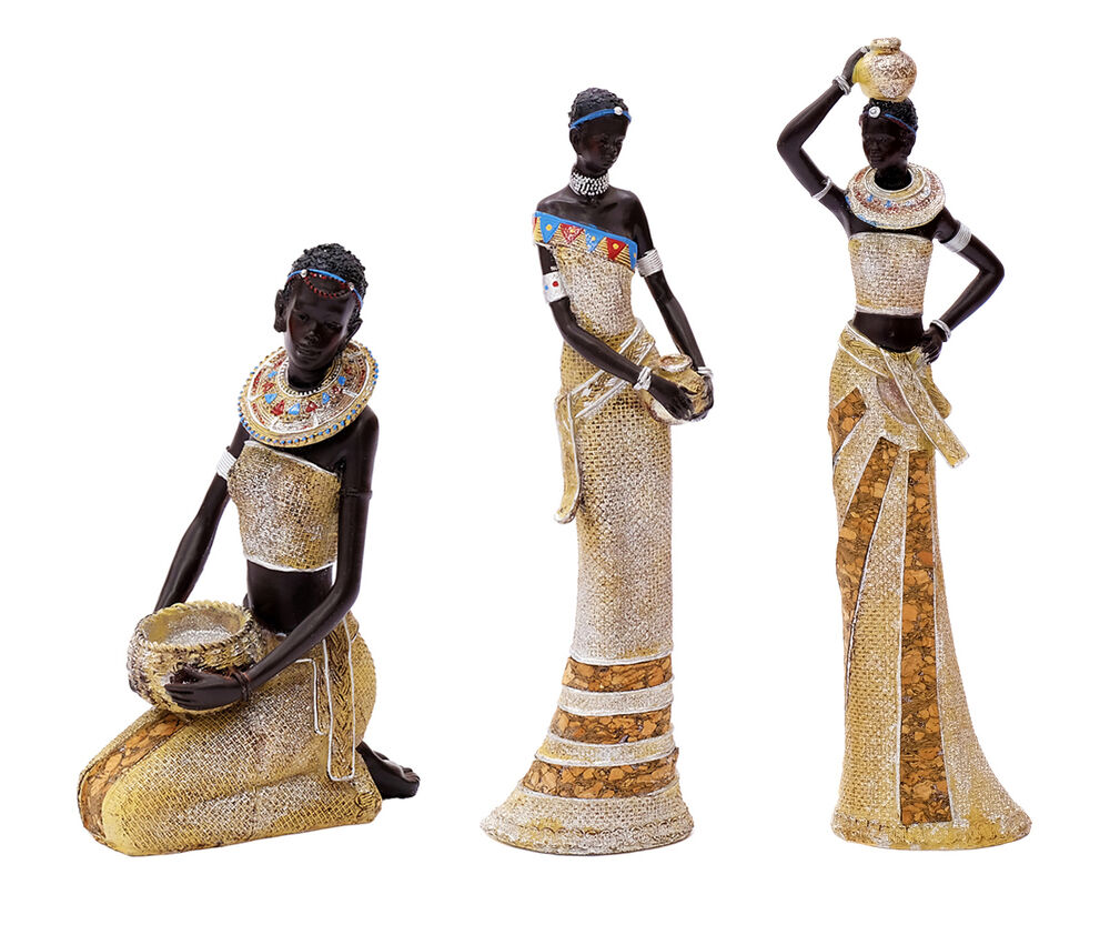 afrikanische dekofigur frau deko figur afrika skulptur statue massai afrikanerin ebay. Black Bedroom Furniture Sets. Home Design Ideas