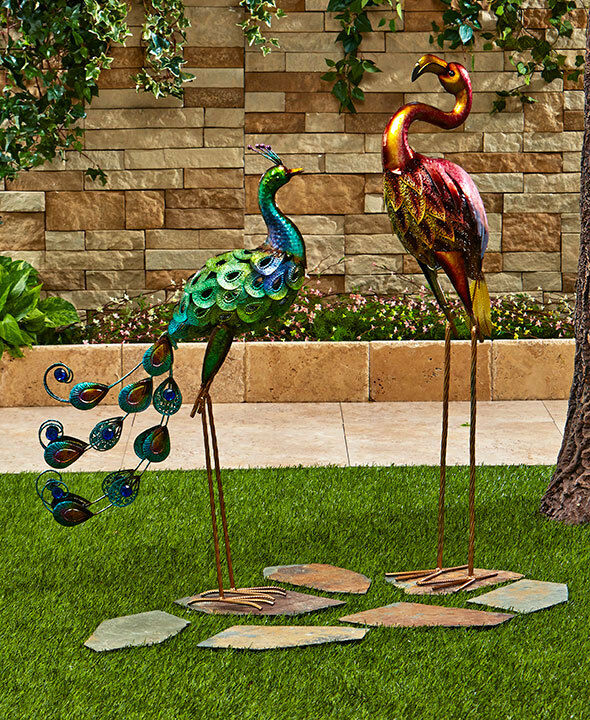 Colorful peacock flamingo metallic bird art metal statue for Decorative garden accents