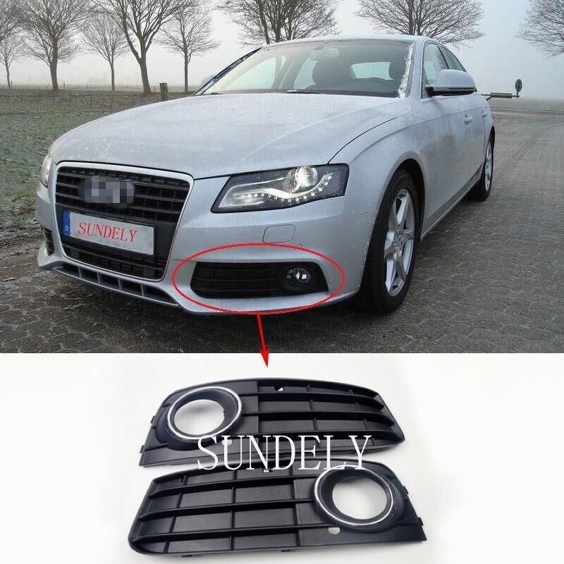 1 Pair Front Bumper Fog Light Grille Cover For Audi A4 A4L
