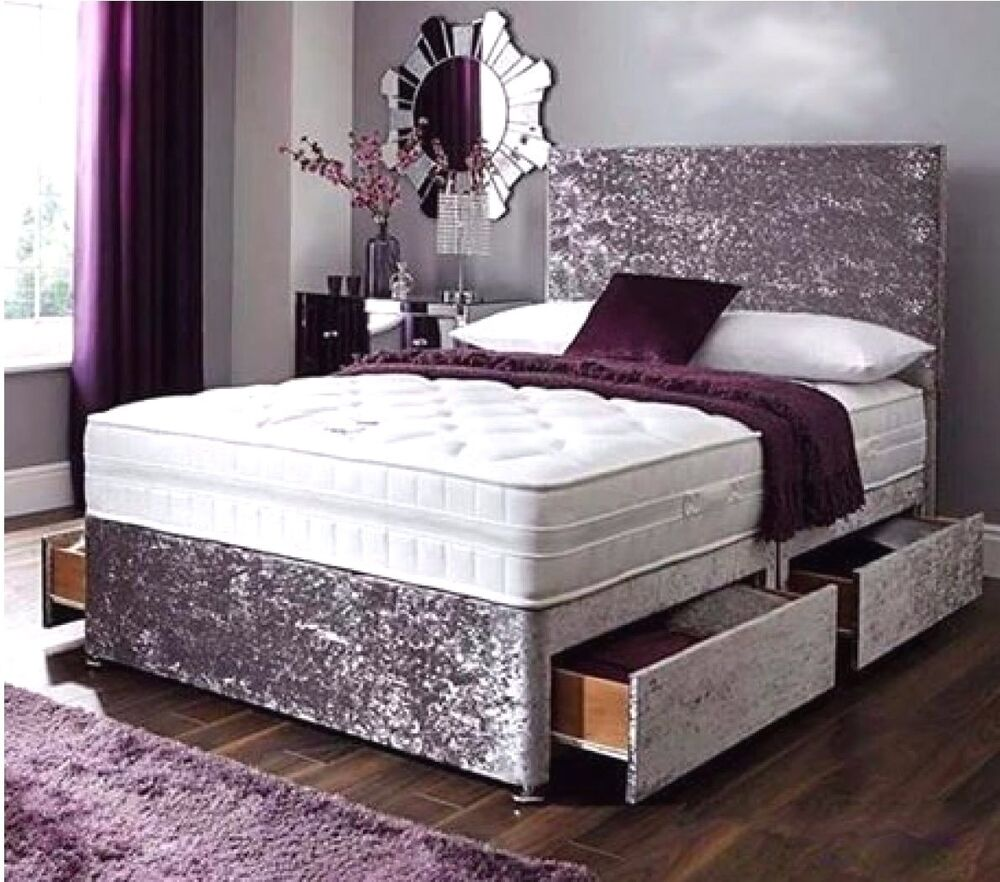 4ft 6 double crushed velvet divan beds 2 drawers for Double divan bed with four drawers