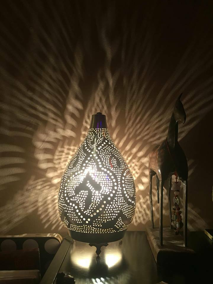 Silver Egyptian Lamps Moroccan Lamps Arabic Style Lamps Medium Table Top Ebay