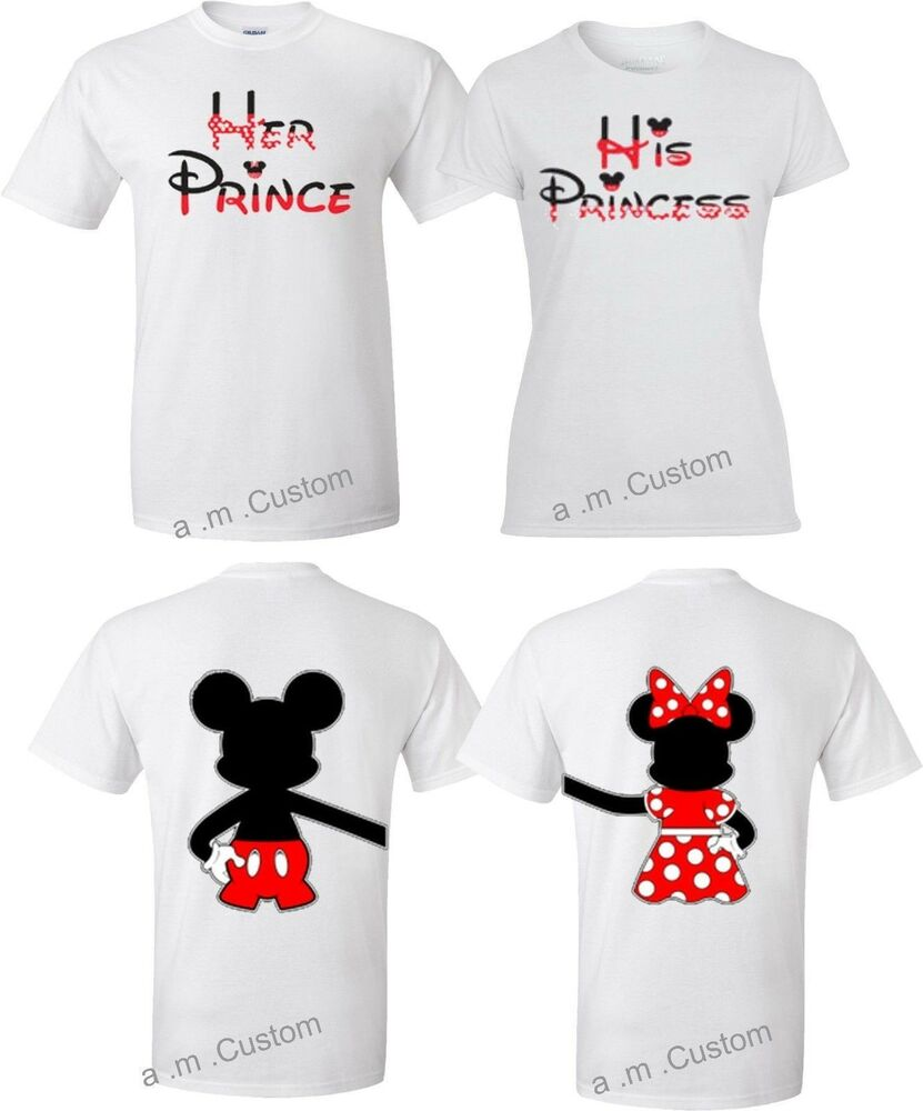 69b9a953fc6 Details about Mickey and Minnie Disney Prince and Princess couple matching  cute T-Shirts