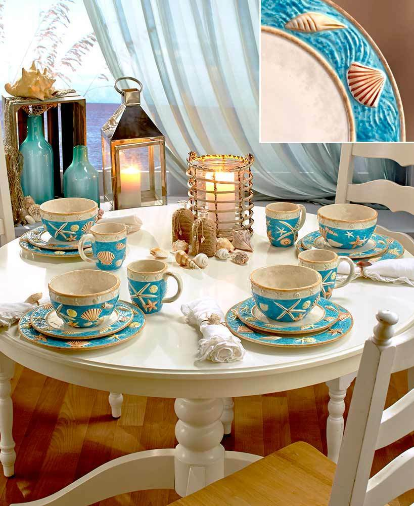 Home Decor China: 16 Pc Coastal Cottage Set Plates Bowls Mugs Beach Nautical