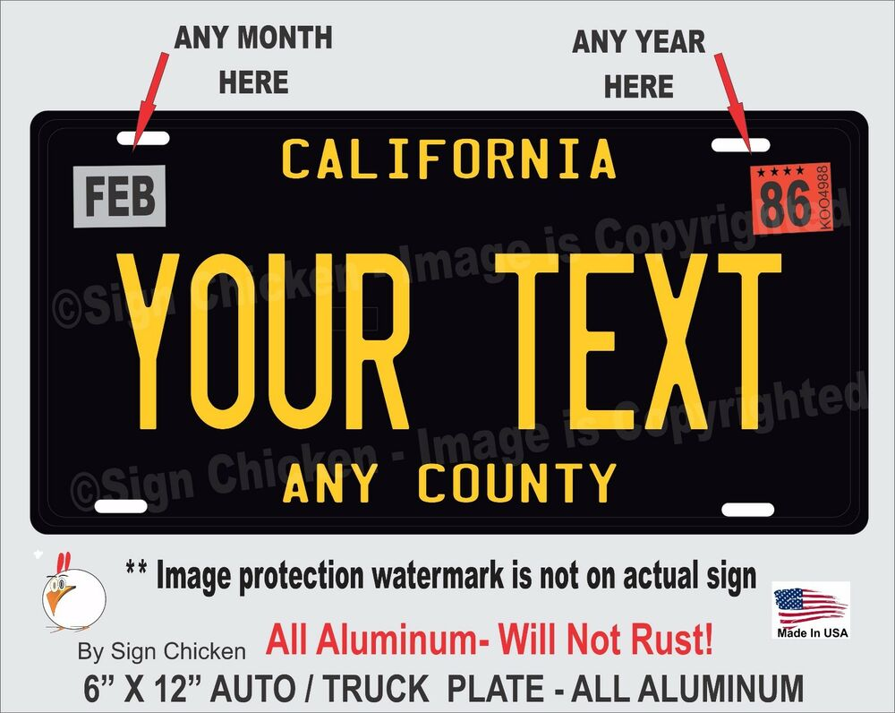 california black your text personalized custom aluminum license plate auto ebay. Black Bedroom Furniture Sets. Home Design Ideas