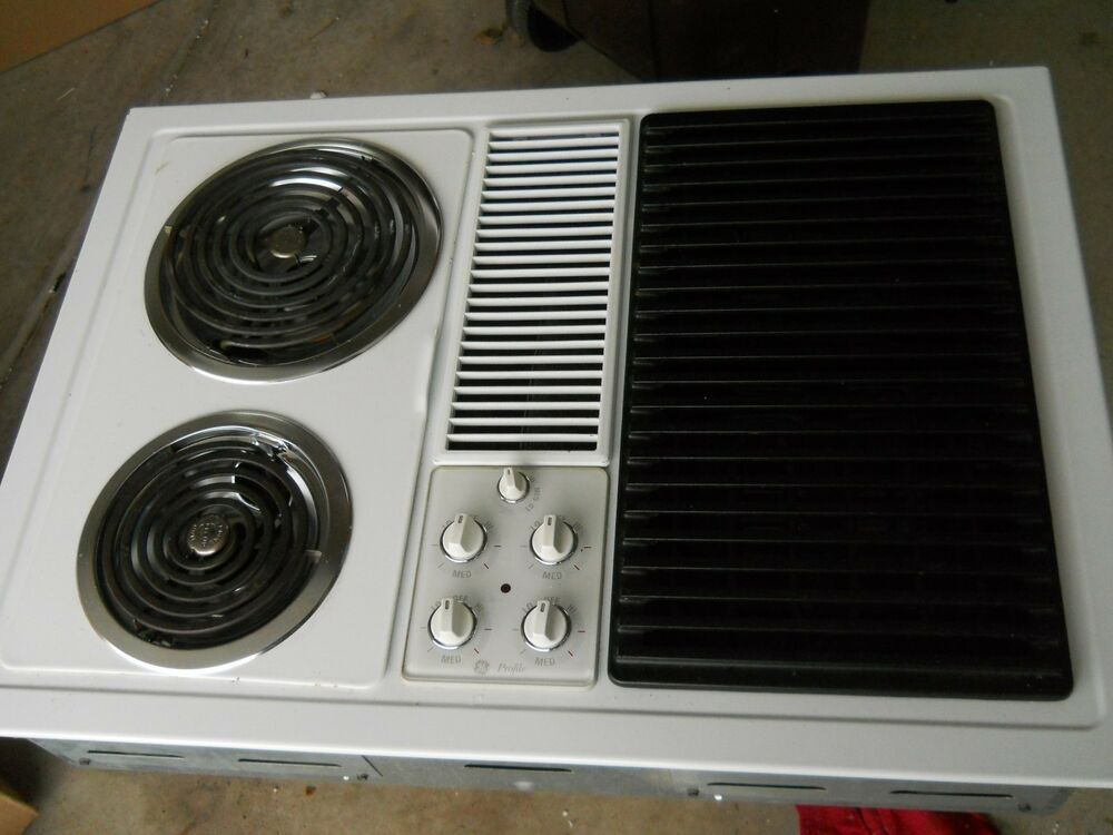 Ge Electric Cooktop With Downdraft ~ Ge downdraft modular cooktop white or black with grill