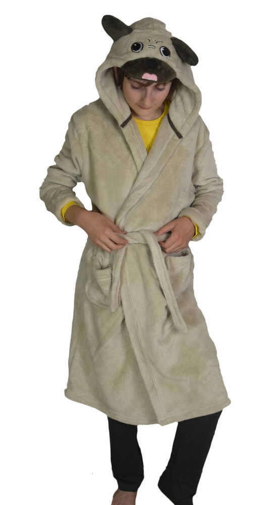 PUG Childrens Soft Dressing Gown Robe Age 2 -13 Toddler Boys Girls ...