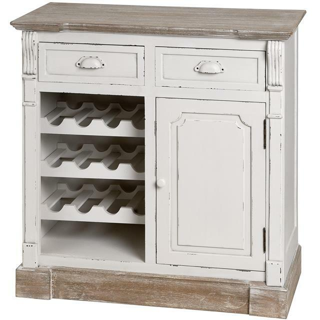 Shabby Chic Sideboard Wine Rack Cream Large Cabinet Cupboard French Vintage
