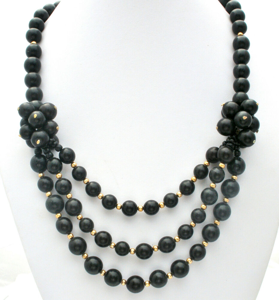 Necklace Beads: Black Statement Beaded Necklace Gold 24 In Fashion Vintage