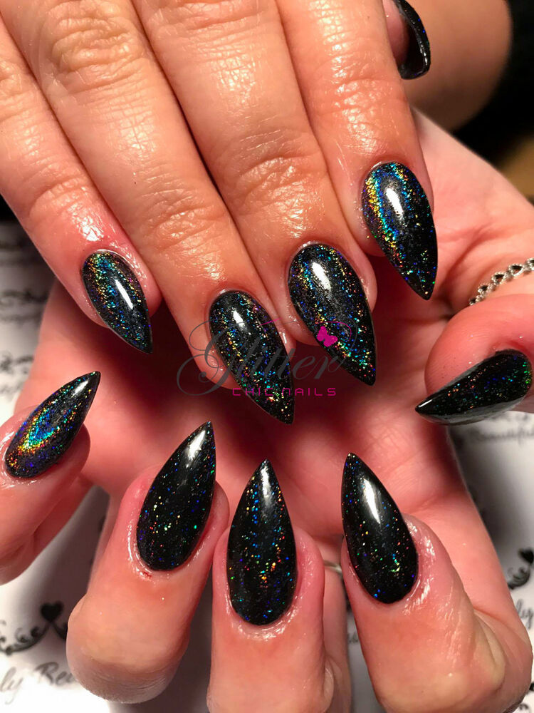 Holographic Nails: GALAXY HOLO FLAKE PIGMENT FOR ACRYLIC UV GEL NAIL ART