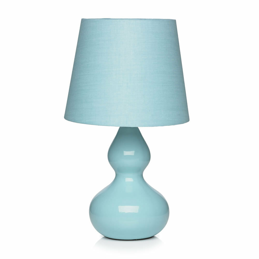 Ceramic duck egg blue table lamp light bedside lamp for Bedside table lamp shades