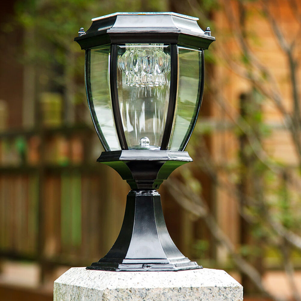 Exterior outdoor solar powered led garden yard pillar light post lamp lantern ebay for Solar exterior post lantern light