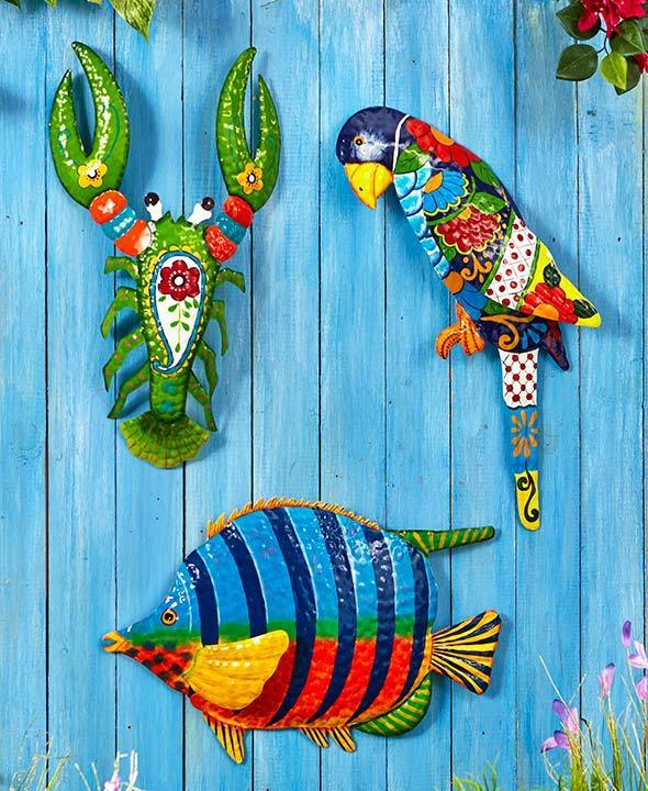 tropical metal wall art sculpture indoor outdoor home decor 3 vibrant designs ebay. Black Bedroom Furniture Sets. Home Design Ideas