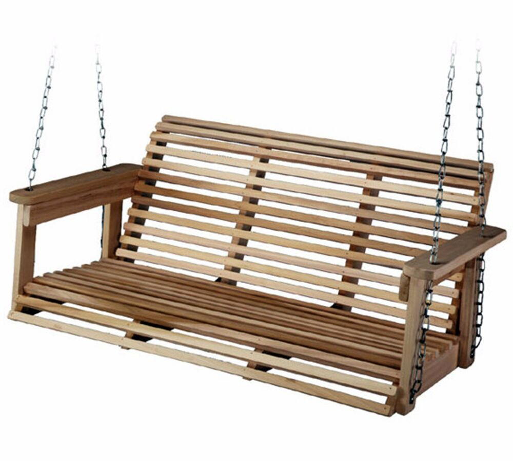Porch Swing Patio Furniture Outdoor Bench Wood Hanging ...