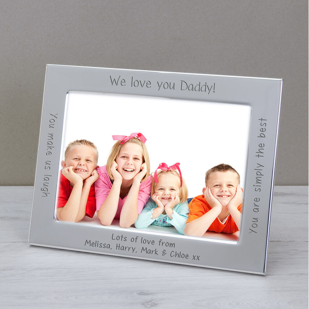 Personalised Silver Plated Photo Picture Frame 1/We Love You Daddy ...