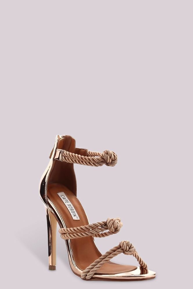 Strappy Metallic Open Peep Toe Braided Rope Knotted Party