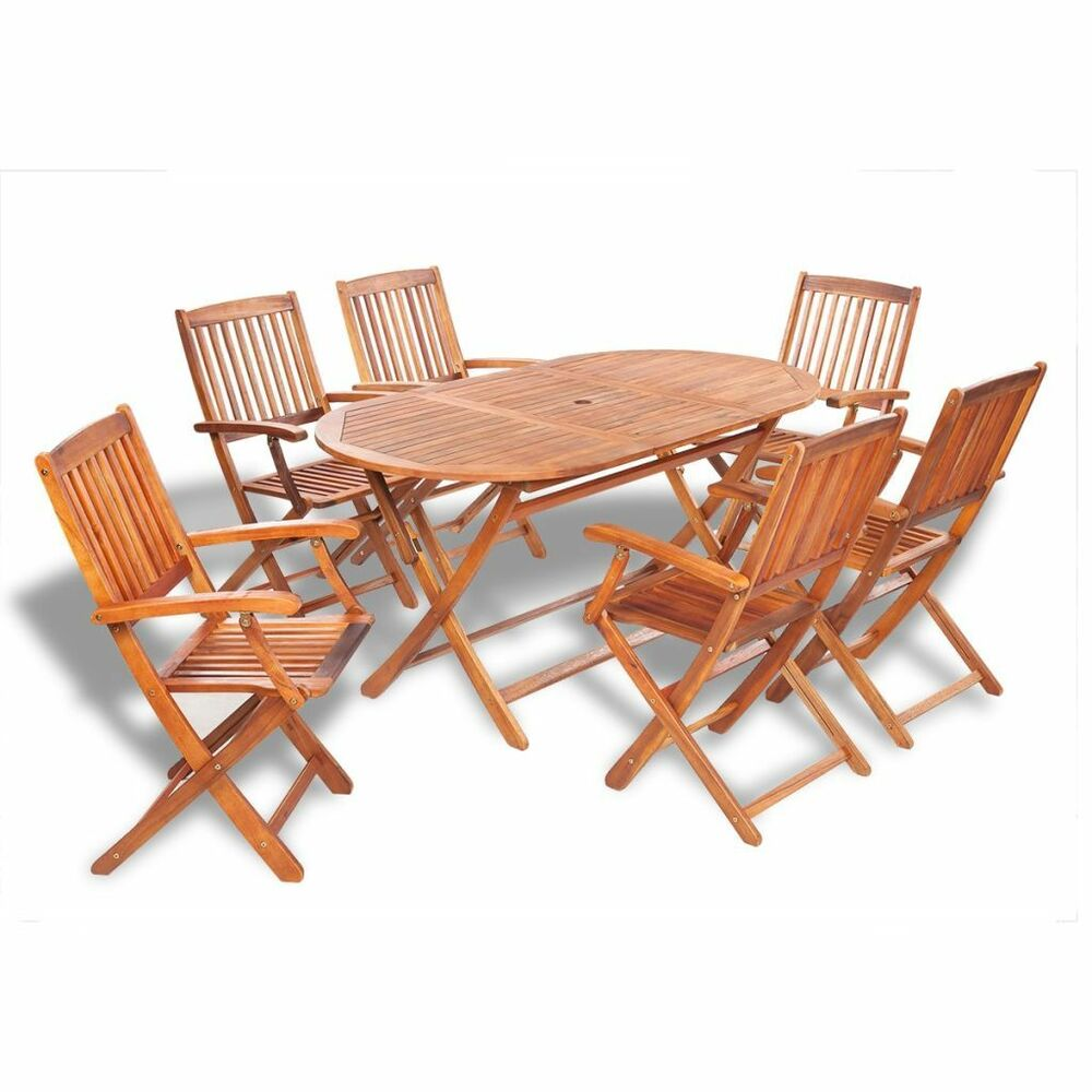 Set of 7 patio garden terrace outdoor acacia wood dining for Table ronde 6 personnes