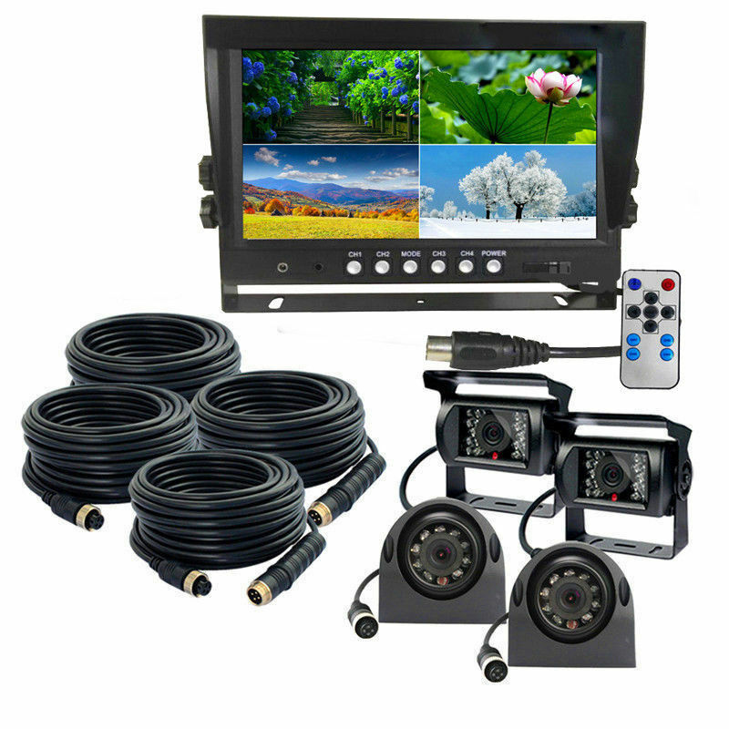 9 U0026quot  Quad Monitor Backup Cameras Safety System For Truck