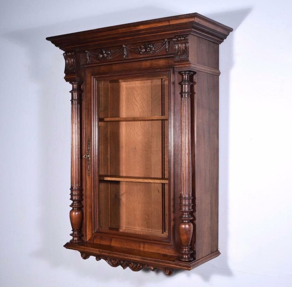 Antique french wall display bar cabinet in walnut with for Old glass doors