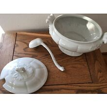 Large Vintage White Red Cliff Ironstone Oval Soup Tureen With Ladle