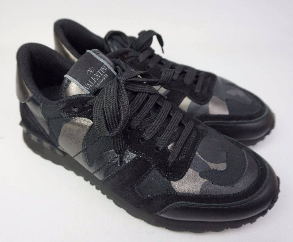 valentino rockrunner men 39 s camo sneakers rockstud black shoes size 40 7 us ebay. Black Bedroom Furniture Sets. Home Design Ideas