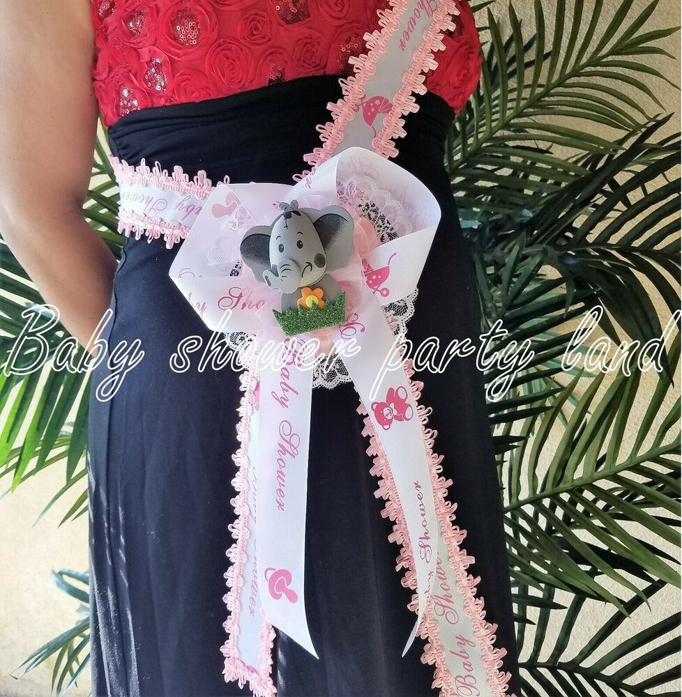 Safari Baby Shower Corsage: Baby Shower Mom To Be It's A Girl Sash Pink Elephant