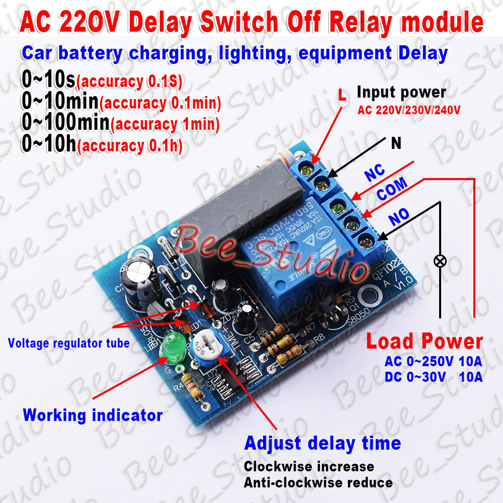 Ac 220v 230v Adjustable Timer Delay Switch Turn Off Time