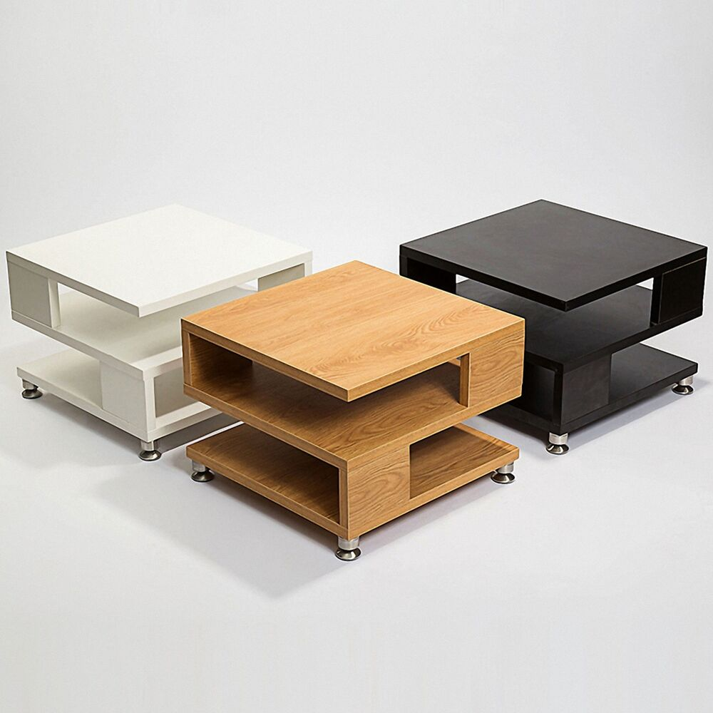 Phebe Modern Oak Timber Coffee Table Square Timber Top: White/Black/Oak Square Coffee Table Storage Wood Living