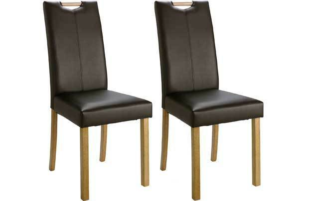 Pair Of Mid Back Dining Chairs With Handle Leather Effect Black 316 4709 Ebay