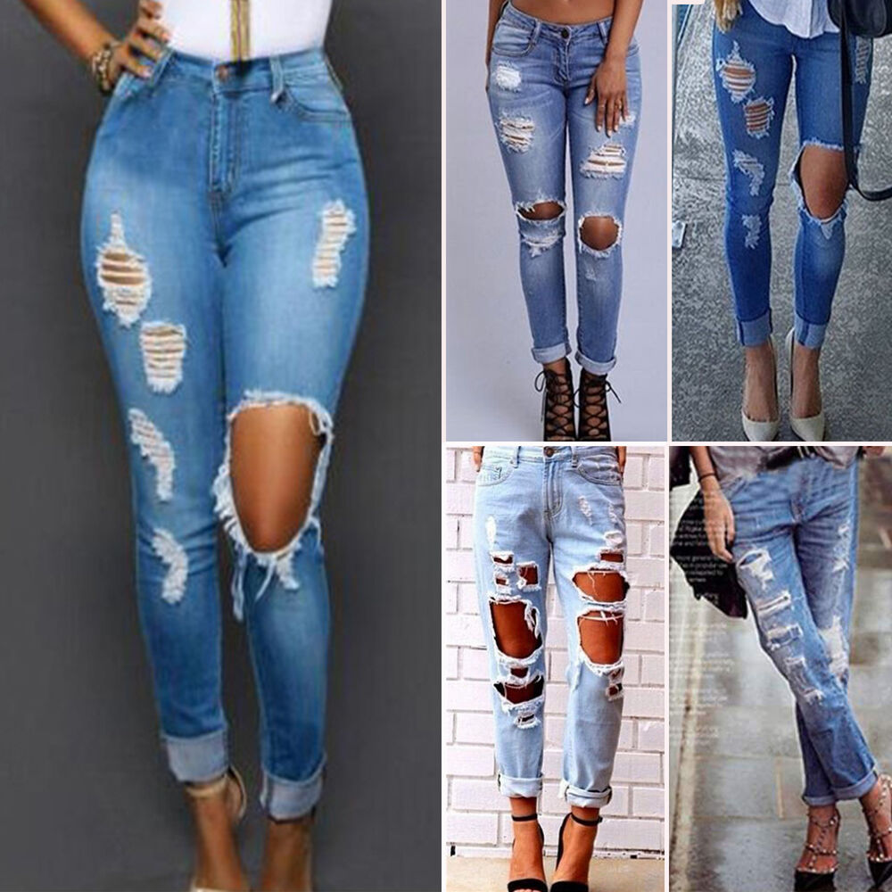 damen jeanshose destroyed zerrissen boyfriend jeans l cher distressed denim hose ebay. Black Bedroom Furniture Sets. Home Design Ideas