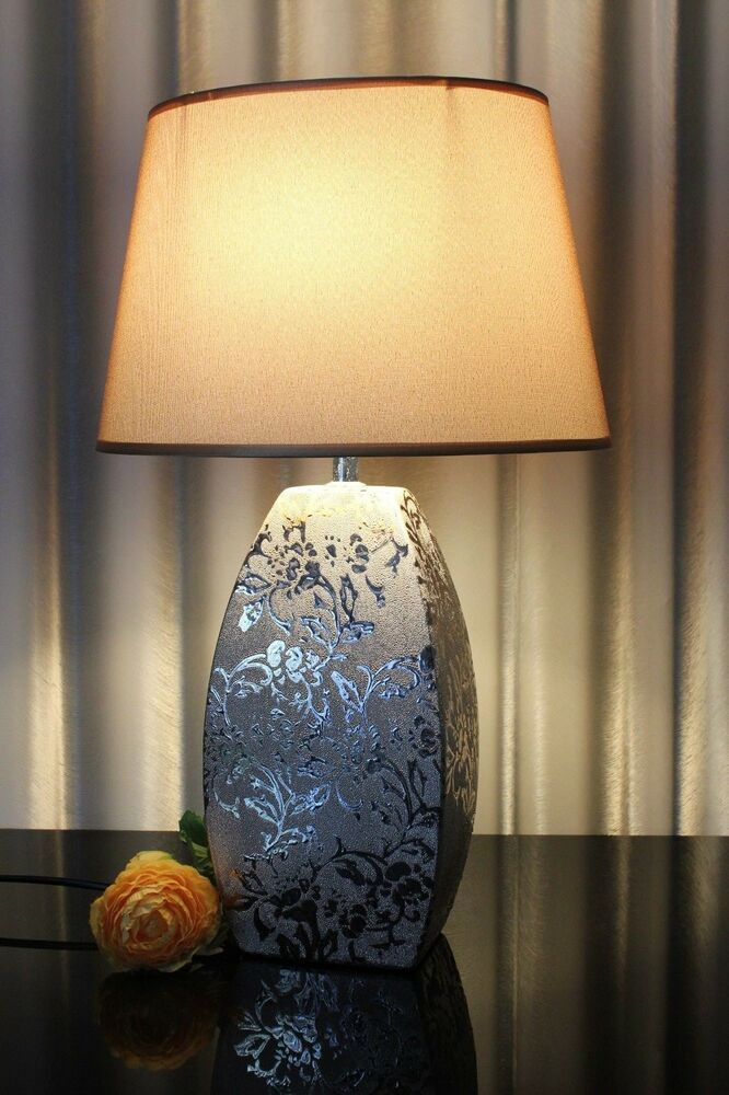 lampe gold nachttischlampe leuchte keramik tischlampe tischleuchte ros 50cm ebay. Black Bedroom Furniture Sets. Home Design Ideas