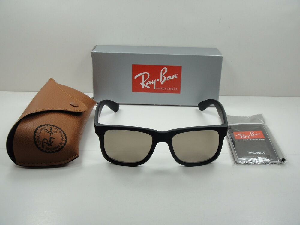 RAY-BAN JUSTIN SUNGLASSES RB4165 622 5A BLACK FRAME GOLD MIRROR LENS 55MM,  NEW!   eBay cc5e8b393d