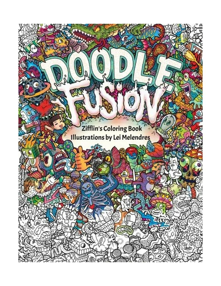 Doodle Fusion Zifflins Coloring Book Volume 2 Free Shipping 9781517376918