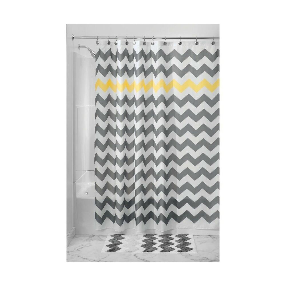 Details About InterDesign Chevron Shower Curtain 54 X 78 Gray Yellow And Free Shipping