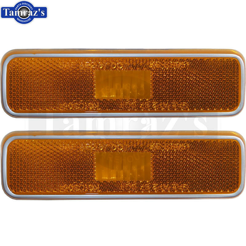 70 93 For Mopar Front Fender Side Marker Light Lamp Amber Lens W Gasket Pair Ebay
