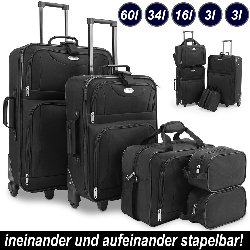 kofferset reisekoffer 4 taschen trolley reise koffer set. Black Bedroom Furniture Sets. Home Design Ideas