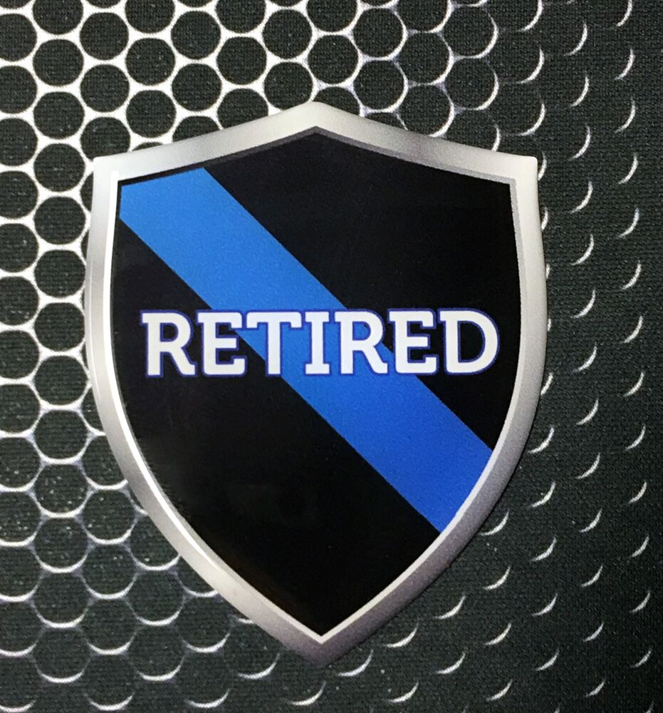 """Thin Blue Line RETIRED Police Shield Proud Domed Decal Emblem Sticker 3D 2.3x 3""""   eBay"""